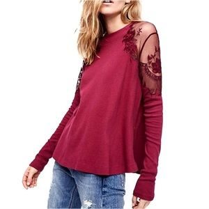 New✨Free People Daniella Wine Lace Embroidered Top